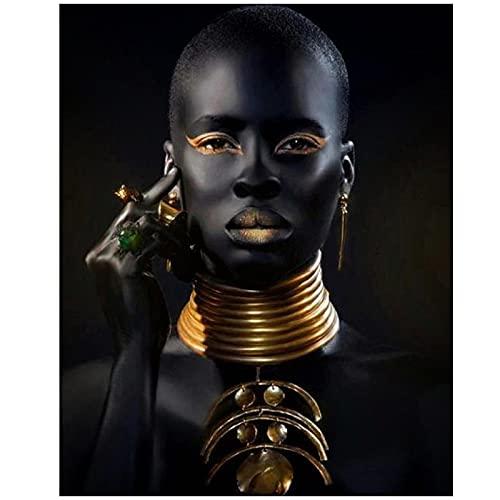 QIAOO Impresión de Lienzo, Gargantilla de Mujer Negra, Collares, joyería, Pinturas artísticas de Pared, Carteles de Pared, Imagen de Arte Africano, decoración de Pared sin Marco