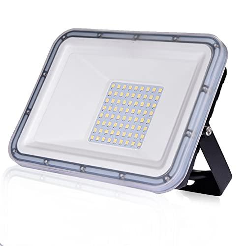 Faro LED da 50W Ultra sottile Luce di sicurezza IP67 impermeabile 4500 lm Faretto LED da Esterno 6500K Luce Bianca Fredda per giardino, cortile, garage, parcheggio, magazzino [classe energetica A++]