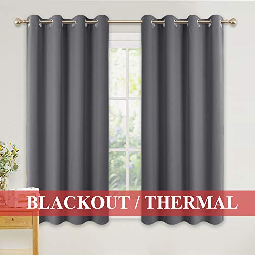 PONY DANCE Thermal Blackout Curtains - Super Soft Grey Bedroom Eyelet Curtains...