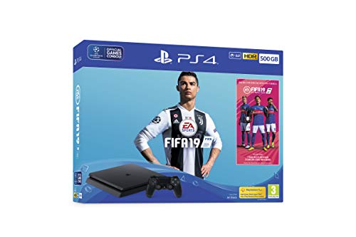Sony PlayStation 4 500GB Console (Black) with FIFA 19 Ultimate Team Icons and Rare Player Pack Bundle