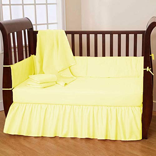 SuperLinen 650TC Crib Bed Skirt Dust Ruffle, 100% Natural Cotton, Nursery Crib Toddler Bedding Skirts for Baby Boys or Girls, 14' Drop, Light Yellow Solid