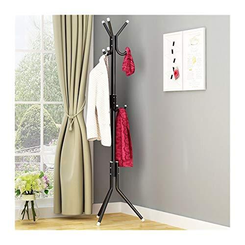 LICHUAN Perchero 9/12 Ganchos 32 mm Perchas Hat Coat Rack Pantalla Permanente Rack Ropa Hanger Dormitorio Ropa Organizador Muebles Fácil Montaje (Color : Black, Specification : 9hooks)