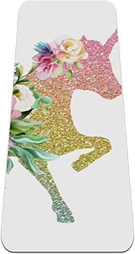 PPOSH Arco Iris de Color Unicornio Magic Horse Pegasus Glitter y Flores Yoga Mat Entrenamiento para Hombre Hombre Yoga Mat No resbalón Piso Grueso Matters Grip Pilates gimnasios Yoga colchonetas para