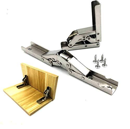 2 unids acero inoxidable 90 grados plegable estante bisagra soporte de mesa oculta bisagra accesorios muebles estantes...