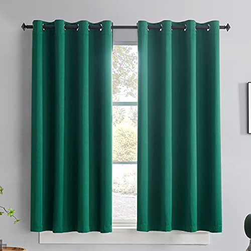 TOAVA DECO Green Curtains 63 Inch Length Room Darkning Thermal...