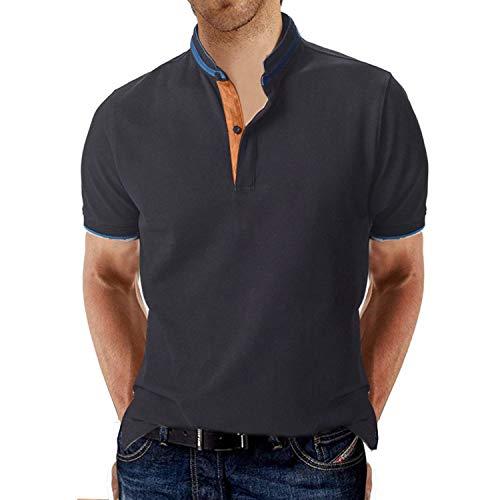 STTLZTM Hombre Polo Manga Corta Collar Henley Camisa Golf Camisa
