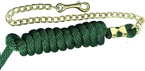 Intrepid International Cotton Lead Rope with Brass Plate Chain