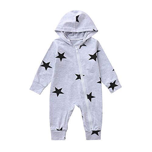 catmoew Baby Mädchen Sets (3M-24M) Neugeborene Kleidung Baby Lange Ärmel Stern Drucken Mit Kapuze Reißverschluss Strampler Onesies Baby Kleider Overall Outfits