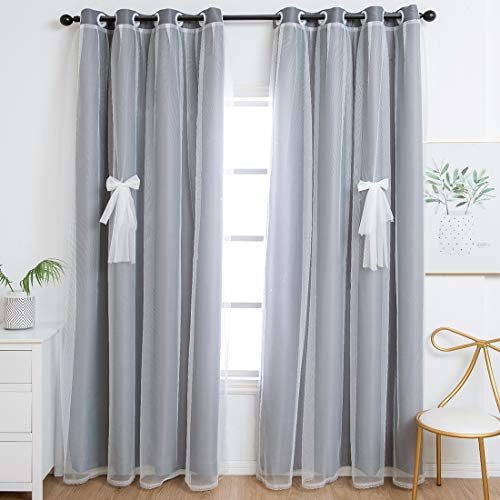 Unistar Blackout and Sheer Curtains for Kids Bedroom Boys Room - Double Layer Darkening Privacy Grommet Top Window Curtains Panels for Living Room, Grey, 52 x 63 Inch Length, 2 Panels