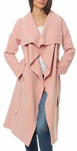 Malito Damen Mantel lang mit Wasserfall-Schnitt   Trenchcoat mit Gürtel   weicher Dufflecoat   Parka - Jacke 3040 (rosa)