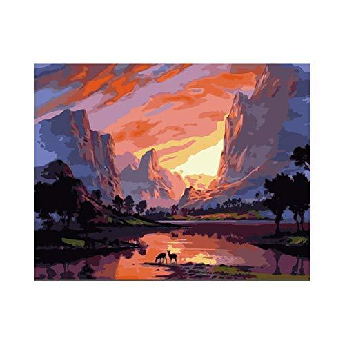 Pintar por números Manada de ciervos alpinos al atardecer La pintura al óleo digital se puede utilizar para la imagen del arte de la pared decoración del hogar obras de arte 40 x 50 cm(sin marco)
