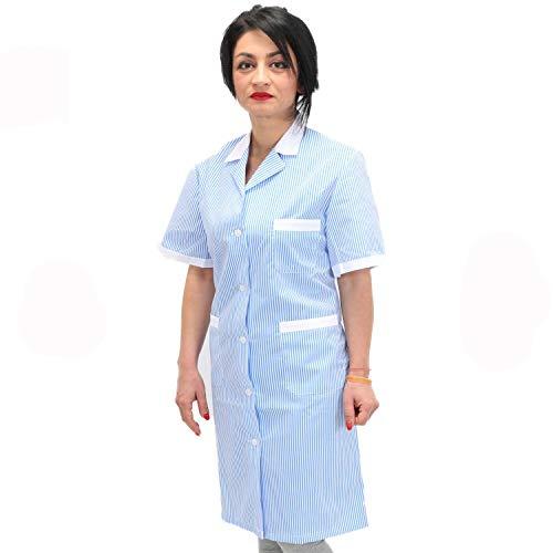 Petersabitidalavoro Camici da Lavoro Donna Imprese di Pulizia Operaia Domestica Cameriera AI Piani (XL=54-56, Righe Azzurre)