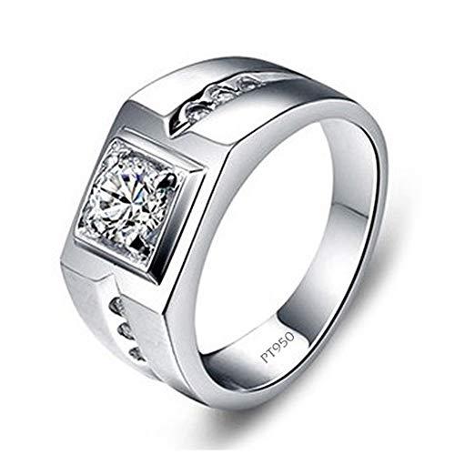 Heren trouwband verlovingsring, geplatineerd sterling zilveren ring met Moissanite gesimuleerde diamanten herensieraden