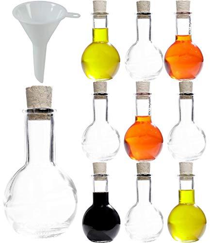 Viva Haushaltswaren - 10 x kleine Glasflasche Tulipano 100 ml mit Korkverschluss, als Schnapsflasche, Likörflasche & Ölflasche verwendbar (inkl. Trichter Ø 5 cm)