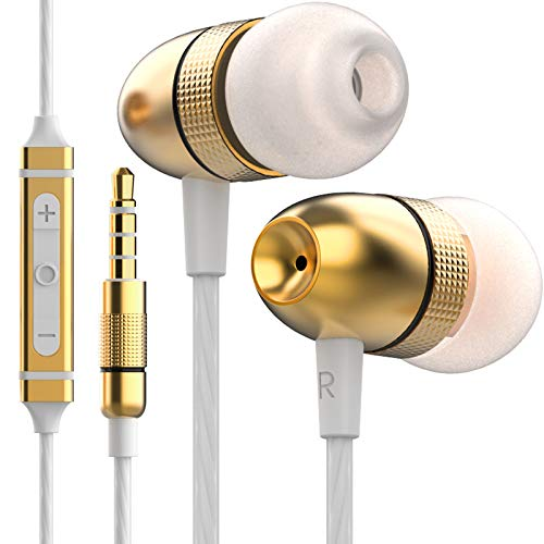 Betron ELR50 Noise Isolating Wired Headphones Earphones with Microphone and Volume Control, Carry Case, Enhanced Bass Sound, 3 Different Sized Earbuds, Gold