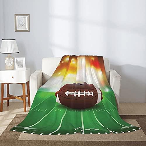 Manta de fútbol americano con pelota de fútbol americano, para ropa de cama clásica, tamaño queen, manta de felpa reversible, para sofá de cama de 80 x 60 pulgadas