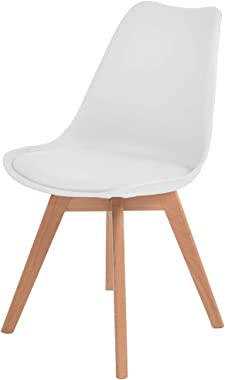 Levede 2X Retro Replica PU Leather Dining Chair Office Cafe Lounge Chairs White-2pcs