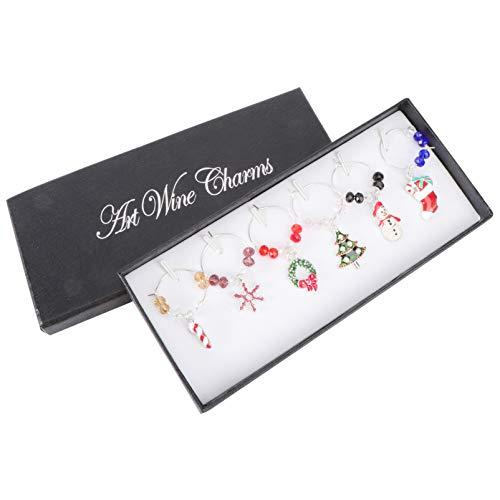 Hemoton 6Pcs Bicchieri di Vino di Natale Tag Natale Fiocco di Neve Ghirlanda Albero Pupazzo di Neve Calza Modello Calice Tazza Perline Anello Charms Accessori Vino per Festa di Natale