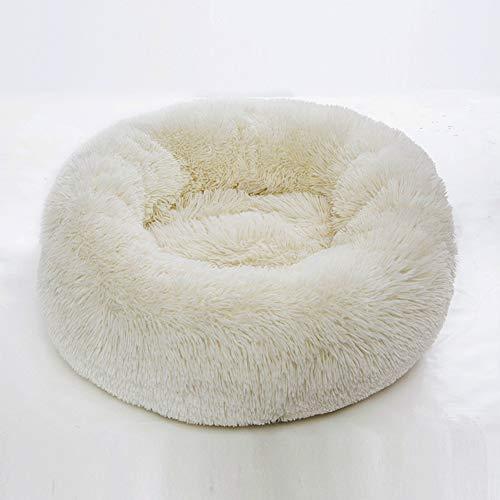 Pluche donut hondenmand, deluxe gewrichtsontlasting en slaapverbetering Zachte warme pluche kattenbank Kennel huisdierbed met antislipbodem