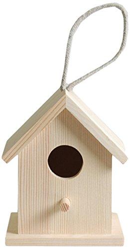 Artemio 10 x 8,5 x 13 cm houten nestkast om op te hangen, beige