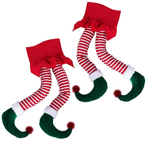 Hooqict 2 Pack Elf Legs for Christmas Tree Decorations Cotton 20'' Christmas Elf Legs Holiday Xmas Tree Elf Legs for Christmas Tree Decorations Fireplace Wreaths Car Decor