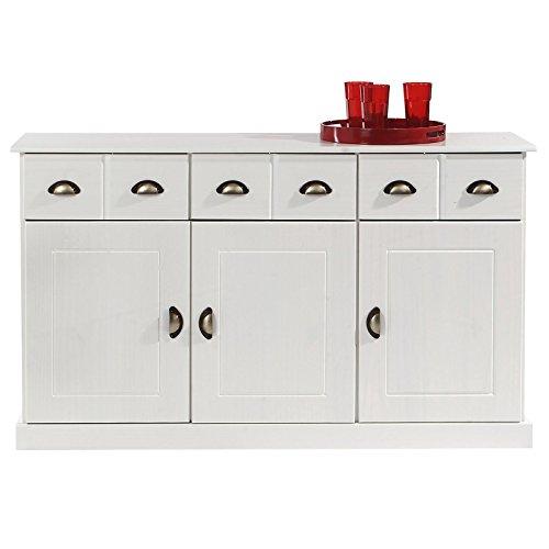 IDIMEX Anrichte Kommode Apothekerschrank Apothekerkommode Sideboard Paris mit 3 Schubladen 3 Türen, Kiefer massiv weiß lackiert