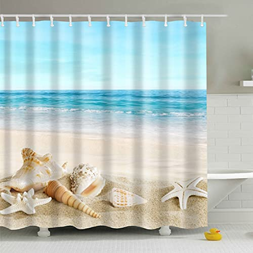 Jibin Bong Waterproof Polyester Fabric Beach Shower Curtain Ocean Scene Shower Curtain, Conch Seashell Starfish Shower Curtain, Blue Sky Tropical Ocean Shower Curtain for Bathroom Decor, 72X72 Inch