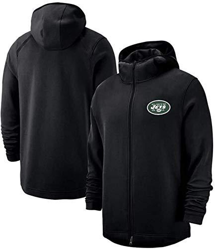 Sudadera Unisex, Fútbol Americano se Divierte Jets Equipo Ventilador Jersey Camiseta de la Cremallera de los Hombres de la Manera Ocasional con Capucha Jersey (Color : Black, Size : X-Large)