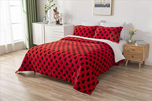 ForenTex - Edredón nórdico de 600 g/m2, (Corazones Rojo), para Cama 135 cm (220 x 240 cm) Parte Superior de sedalina, Parte Inferior de Borreguillo para arroparte térmica.