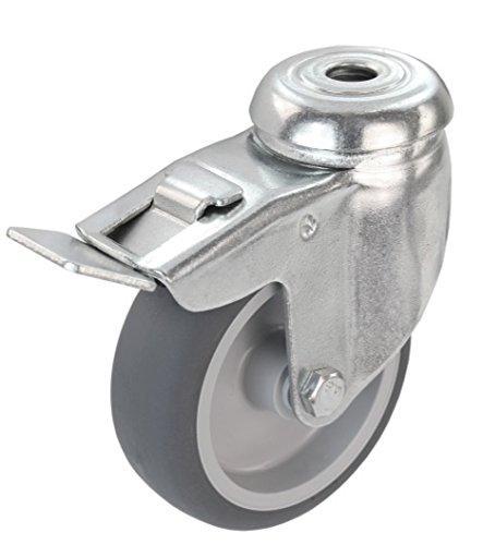 Apparaterolle Lenkrolle mit Bremse 75 mm mit Feststeller Gummi grau-spurlos Rückenloch Möbelrolle Transportrolle