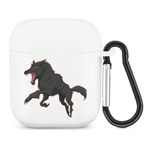 Funda para Airpods Airpods de silicona, color blanco, con dibujos animados, protección completa, duradera, resistente a los golpes, con llavero, compatible con Apple Airpods 2 y 1 Case Wolf2