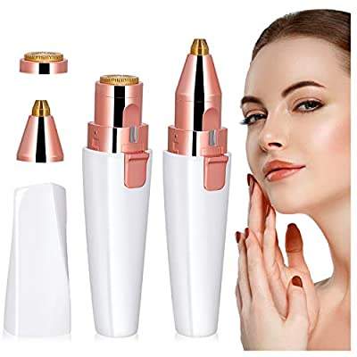 Facial Hair Remover for Women, Winpok Painless Eyebrow Hair Remover, 2 in 1 Eyebrow Trimmer and Facial Hair Removal, USB Rechargeable Portable Face Hair Trimmer, Waterproof with Built-in LED Light from Ycx-store
