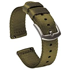 PREMIUM SEATBELT NYLON – Classic NATO style in a versatile two piece watch strap. Double layer (2.8mm) seat belt nylon has a smooth finish and high sheen that elevates your favorite diver, field or dress watch. The tightly woven fabric is 100% waterp...