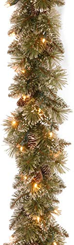 National Tree Company Pre-lit Artificial Christmas Garland | Flocked with Mixed Decorations and White LED Lights | Glittery Bristle Pine - 6 ft