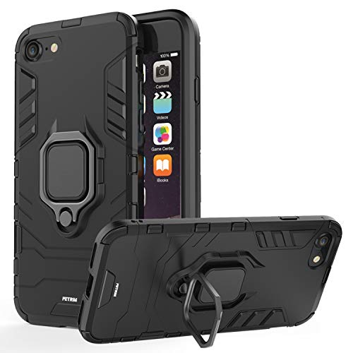 Fetrim Custodia iPhone 7, Shell TPU PC Cassa Cover Supporto di Anello Rotante di 360 Case per Apple iPhone 7/8 (Nero)