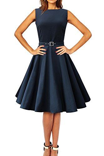 BlackButterfly 'Audrey' Vintage Clarity Kleid im 50er-Jahre-Stil (Nachtblau, EUR 46 - XXL)