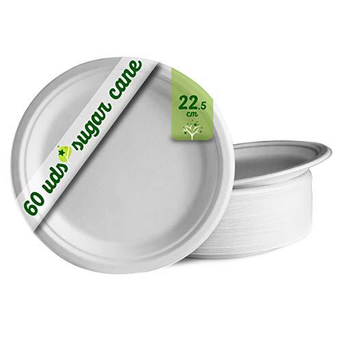 GoBeTree 60 Platos Desechables biodegradables de Papel de caña de azúcar de Ø22.5 cm. Vajilla desechable extrafuertes de Color Blanco. para Fiestas y picnics. Platos Redondos de bagazo.