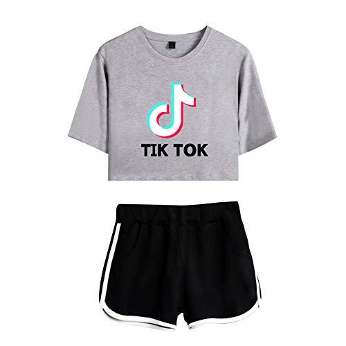 TIK TOK Impresión Crop Top Camisetas y Pantalones Cortos Ropa Traje 2 Piezas Deportiva T Shirt y Shorts para Mujer Chica Camiseta Manga Corta Top Chándal Ropa Deportiva C00605TXDKGYBKS