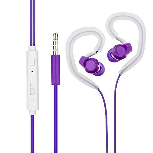 Blue Star Headset Kompatibel mit Nokia 2.1, Nokia 3.1, Nokia 5.1 - Sport Jogging Ohrbügel - Kopfhörer Headset mit Freisprechfunktion In-Ear mit 6X Silikon Aufsatz (Violett)