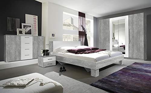 Furniture24 Schlafzimmer-Set Vera Elegante Bett, Kommode, Drehtürenschrank, Kleiderschrank, Bettgestelle, Schlafmöbel, Nachttische, Ehebett (180 x 200, Beton Colorado/Weiß)