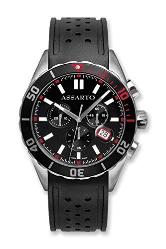 ASSARTO Watches ASH-9824WRU-BLK Seapearl-Series Chronograph mit Schweizer Uhrwerk und Saphirglas, Taucheruhr, Schwarze Uhr, Armbanduhr, Herrenuhr, Sportuhr, Damenuhr, Quarzuhr