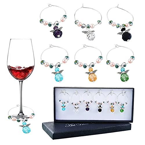 Keleily Charms per Bicchiere di Vino,6Pezzi Segnabicchieri,Marcatore per Bicchieri, Identificatori Vetro con Ciondolo Colorato Facile da Usare e Distinguere per Feste Bar Riunioni di Famiglia(B)