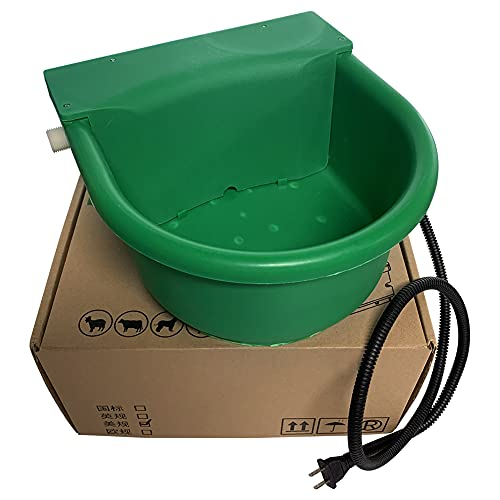 Abustle pig Heated Automatic Horse Waterer Bowl, 4L Large Capacity Farm Heated Waterer Dispenser with Float Control for Pet Dog Goat Chicken and Other Animals,Outdoor Thermal-Bowl