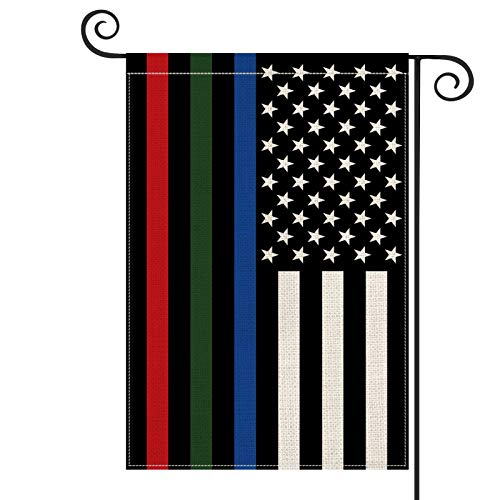 AVOIN Thin Blue Green and Red Line American US Flag Garden Flag Vertical Double Sided, Patriotic USA Honoring Police Military and Fire Officers Flag Yard Outdoor Decoration 12.5 x 18 Inch
