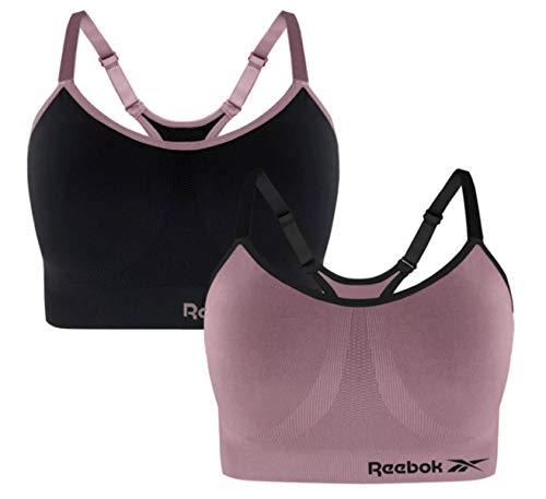 Reebok Ladies 2pk Seamless Sports Bra (Black/Toadstool, X-Large)