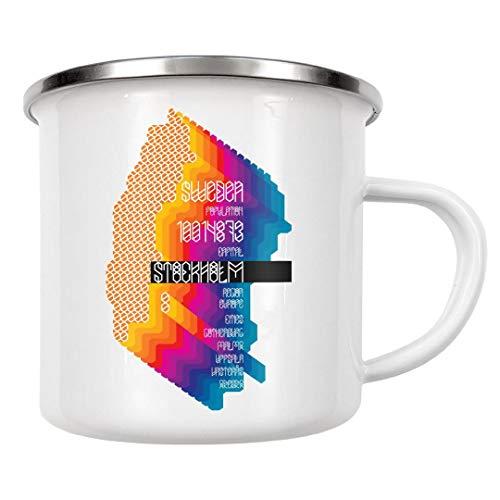 artboxONE Emaille Tasse Schweden von Sasha Lend - Emaille Becher Typografie