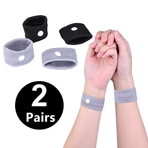 Anti Nausea Travel Sickness Wristbands, 2 Pairs Motion Sickness Bands for Kids & Adults Natural Acupressure Nausea Relief Wristbands for Car Sea Flying Trip and Pregnancy Morning Sickness (2 Pairs)