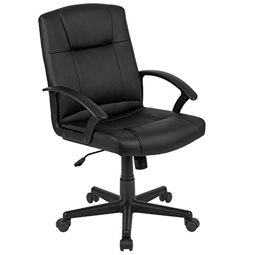 Flash Furniture Flash Fundamentals Mid-Back Black LeatherSoft-Padded Task Office Chair with Arms, Schaumstoff, Schwarz, 63.5 x 63.5 x 100.33 cm
