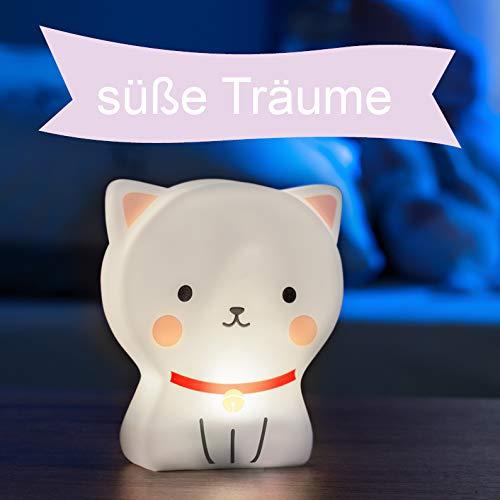 LED Nachtlicht für Kinder, Tierfigur Katze, Kinder Lampe mit Timer, mit Batterie