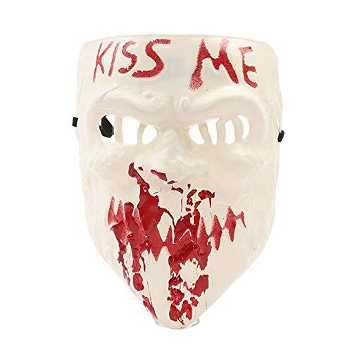 LZNFLY Mascara Nuevas máscaras Kiss Me Mask Cosplay Fiesta de Halloween Cosplay Máscara de Terror Máscara del año de elección Fiesta de Halloween Prop, Blanco